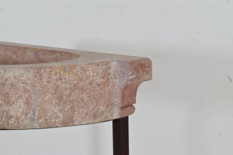 French Marble Basin on later Iron Stand, 20th Century or Earlier For Sale 3