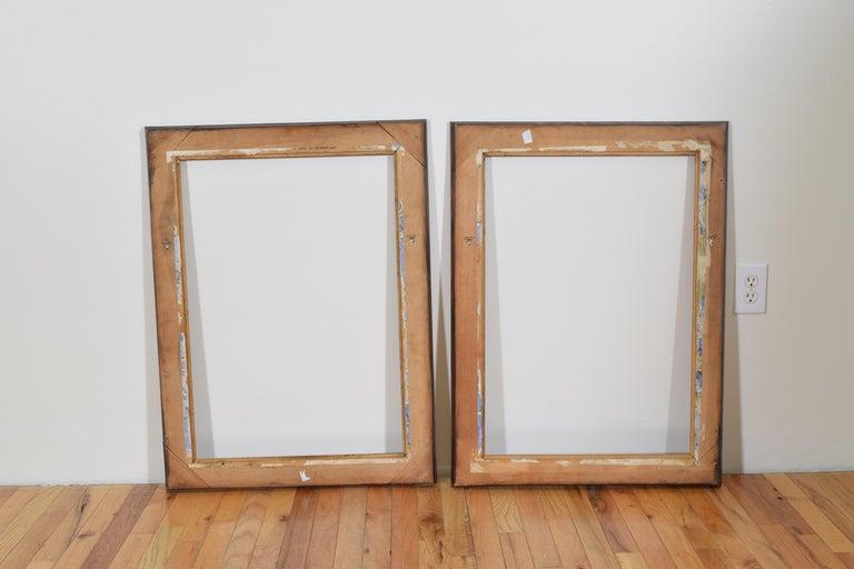 Pair of Italian Late Neoclassic Period Walnut Veneer Mirrors, Mid-19th Century For Sale 2