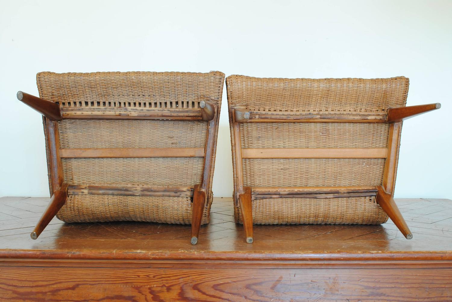 Superb img of Pair of French Wooden and Rattan Upholstered Chairs at 1stdibs with #794528 color and 1500x1004 pixels