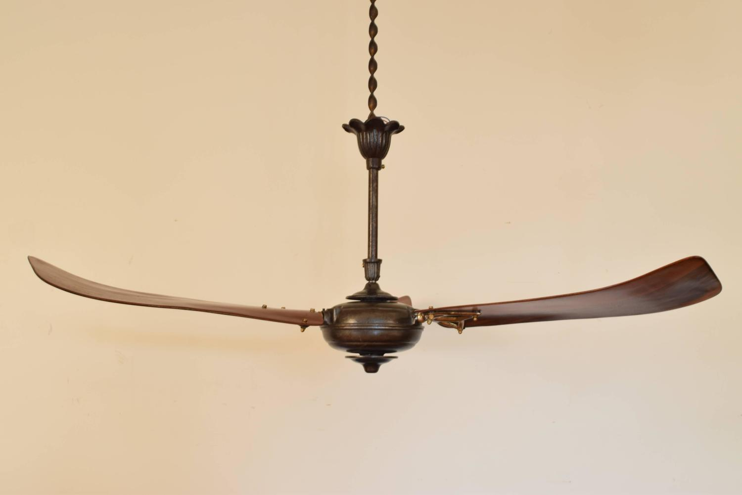 Italian Iron And Wooden Three Blade Ceiling Fan Circa 1900 At 1stdibs