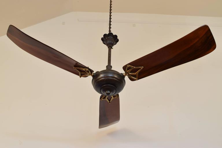 Italian Iron And Wooden Three Blade Ceiling Fan Circa 1900 In Excellent Condition For