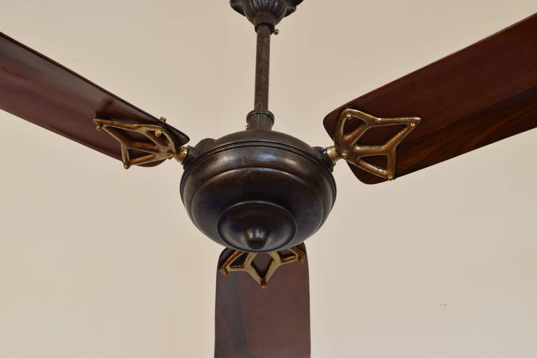 Early 20th Century Italian Iron And Wooden Three Blade Ceiling Fan Circa 1900 For