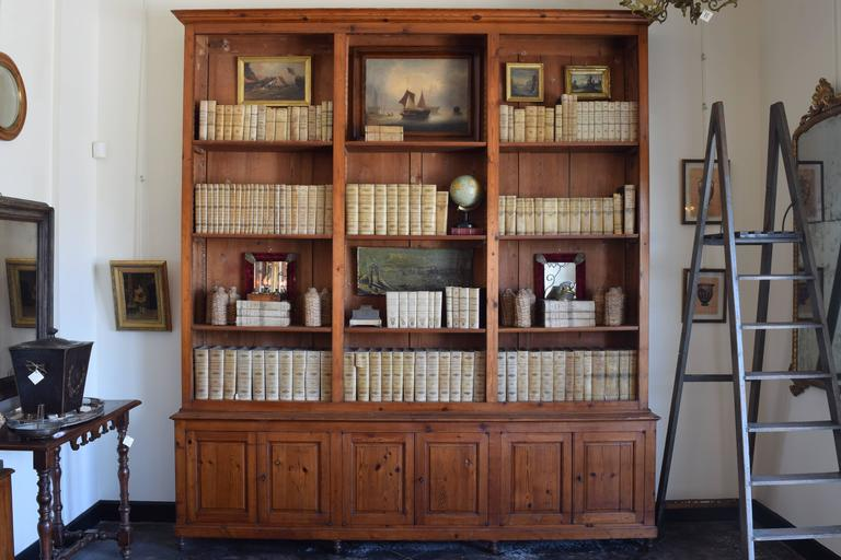 Neoclassical Revival Italian circa 1870 Large Bookcase in Chestnut, Open Shelves and Locking Cabinets For Sale