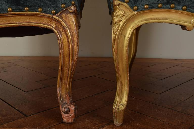 Matched Pair of French Louis XV Style 19th Century Carved Giltwood Bergeres For Sale 3