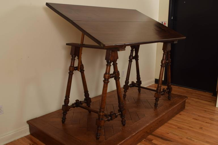 Louis Philippe Italian Walnut And Rosewood Tall Adjustable Drafting Table,  19th Century For Sale