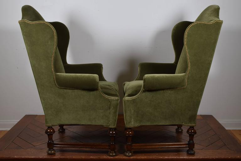 pair of william u0026 mary style carved wood u0026 upholstered wing chairs 19th century 3