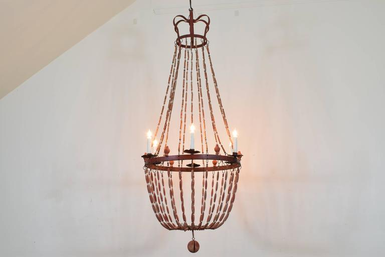 Italian Painted Wood and Iron Six-Light Empire Style Chandelier 2