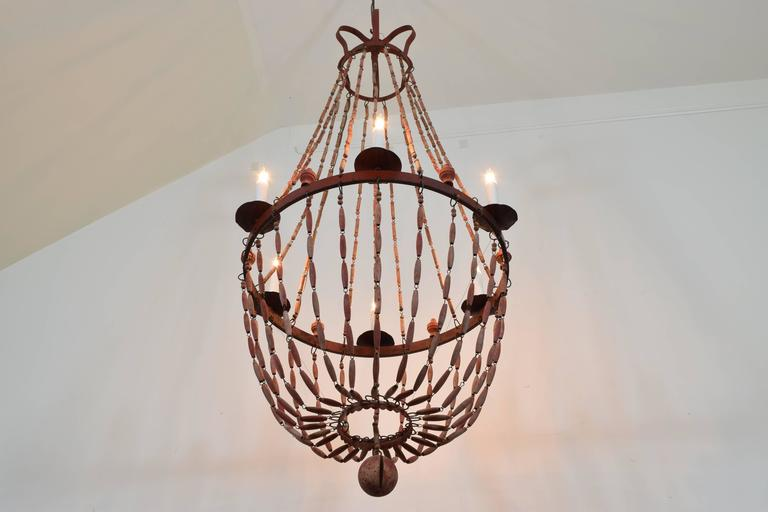 Italian Painted Wood and Iron Six-Light Empire Style Chandelier 3