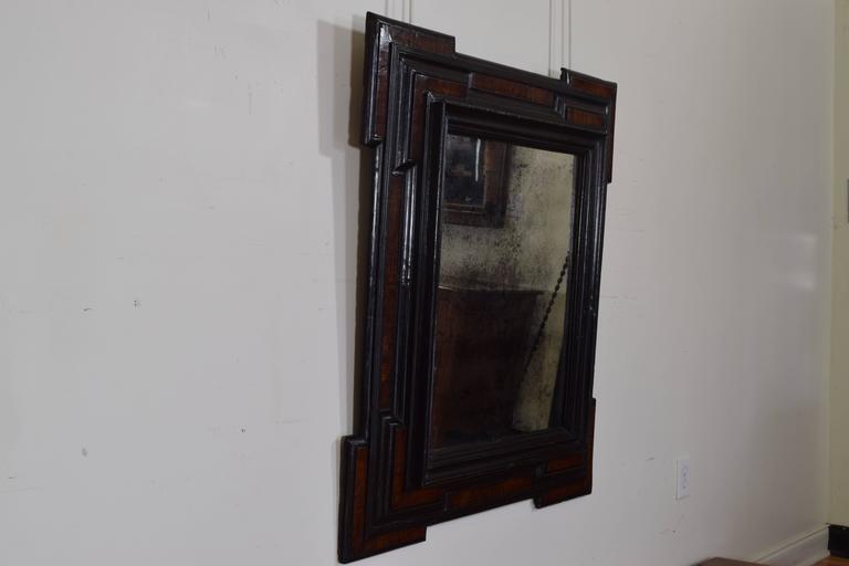 Large Italian Baroque Period Walnut and Ebonized Wall Mirror, 17th Century In Good Condition In Atlanta, GA