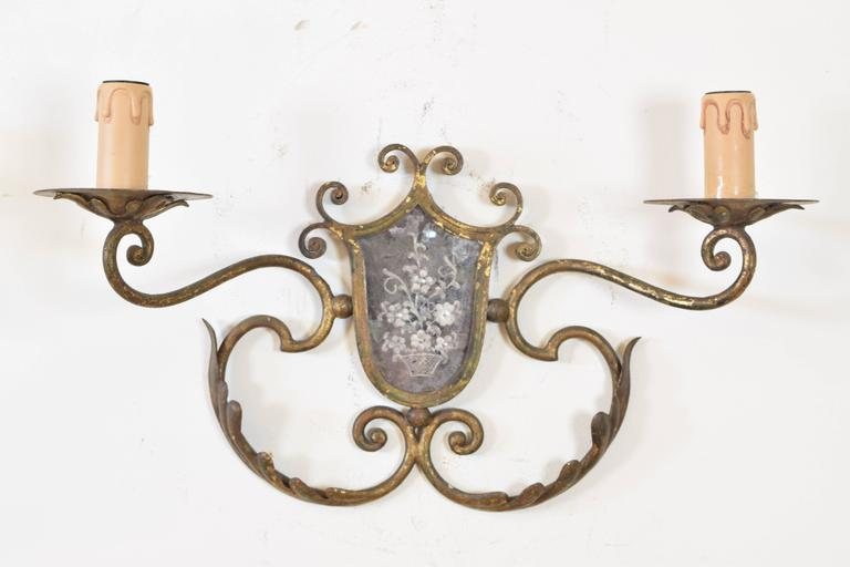 Rococo Pair of Italian Gilt Metal and Mirrored Two-Arm Sconces For Sale