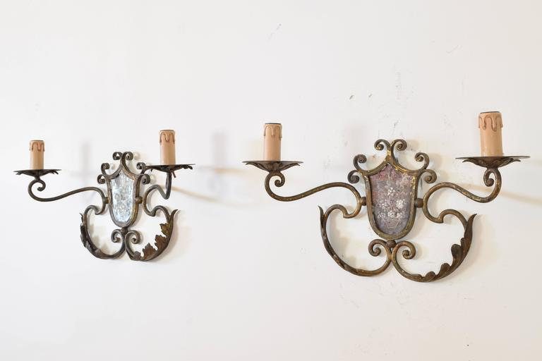 Pair of Italian Gilt Metal and Mirrored Two-Arm Sconces In Excellent Condition For Sale In Atlanta, GA