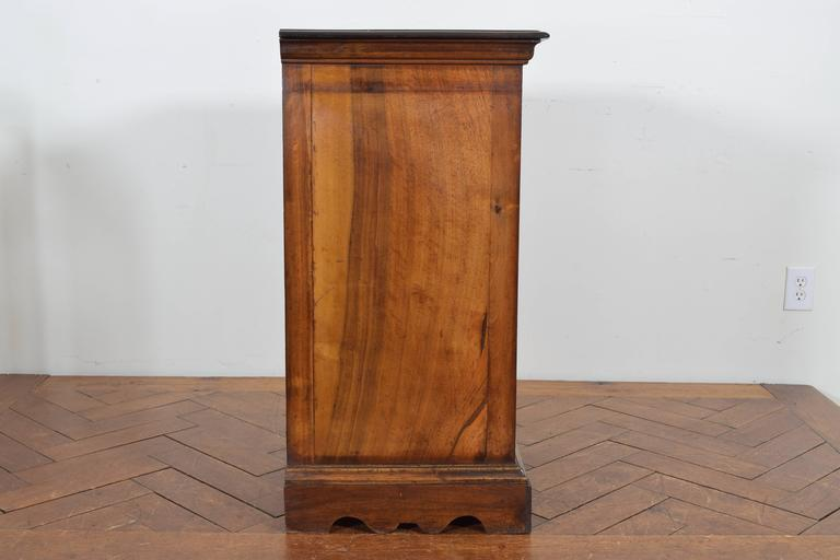 Late 19th Century Italian Walnut Tall Three-Drawer Commode, 19th Century For Sale