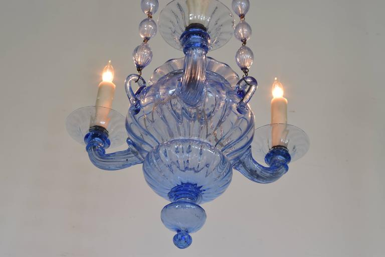 Mid-Century Modern Italian, Venice, Blue Blown Glass Three-Light Chandelier, Mid-20th Century For Sale