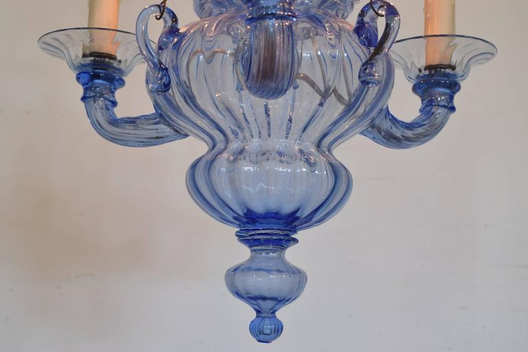 Italian, Venice, Blue Blown Glass Three-Light Chandelier, Mid-20th Century For Sale 4