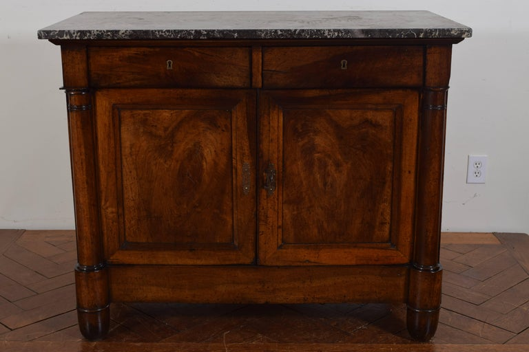 French Walnut Louis Philippe Server, Marble Top 2