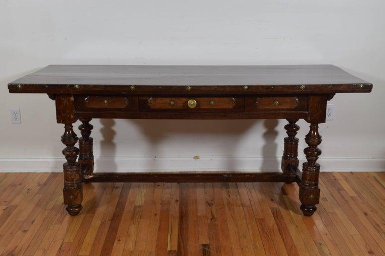 Italian Baroque Period Walnut One Drawer Centre Table, Bologna 2