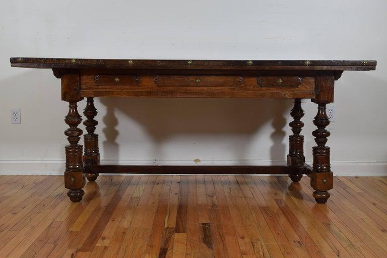 Italian Baroque Period Walnut One Drawer Centre Table, Bologna 5