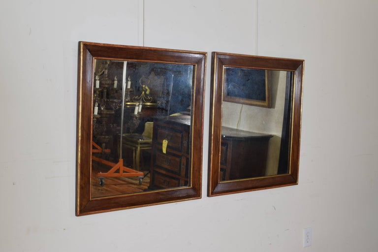 Neoclassical Pair Spanish Neoclassic Walnut and Giltwood Wall Mirrors, 19th Century For Sale