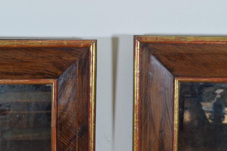 Pair Spanish Neoclassic Walnut and Giltwood Wall Mirrors, 19th Century In Excellent Condition For Sale In Atlanta, GA