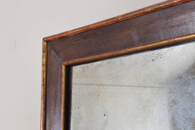 Pair Spanish Neoclassic Walnut and Giltwood Wall Mirrors, 19th Century For Sale 1