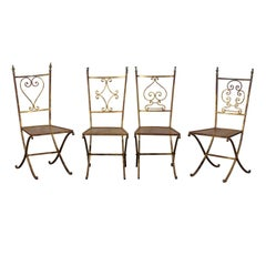 Set of Four 20th Century French Gilt Metal Chairs, Cast Bronze Chessman Finials