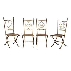 Set of Four 20th Century French Chairs, Cast Bronze Chessman Finials