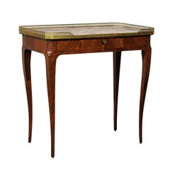 20th Century Louis XV Style Marble-Top Kingswood Table with Brass Gallery
