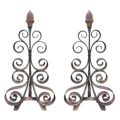 Pair of Hand-Wrought Andirons with Brass Acorn, circa 1900