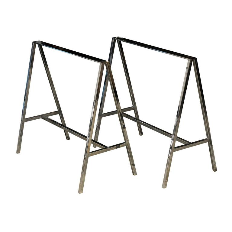 Pair of 20th Century Chrome Sawhorses 1