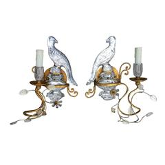 Pair of Mid-Century Bird Sconces in the Style of Bagues
