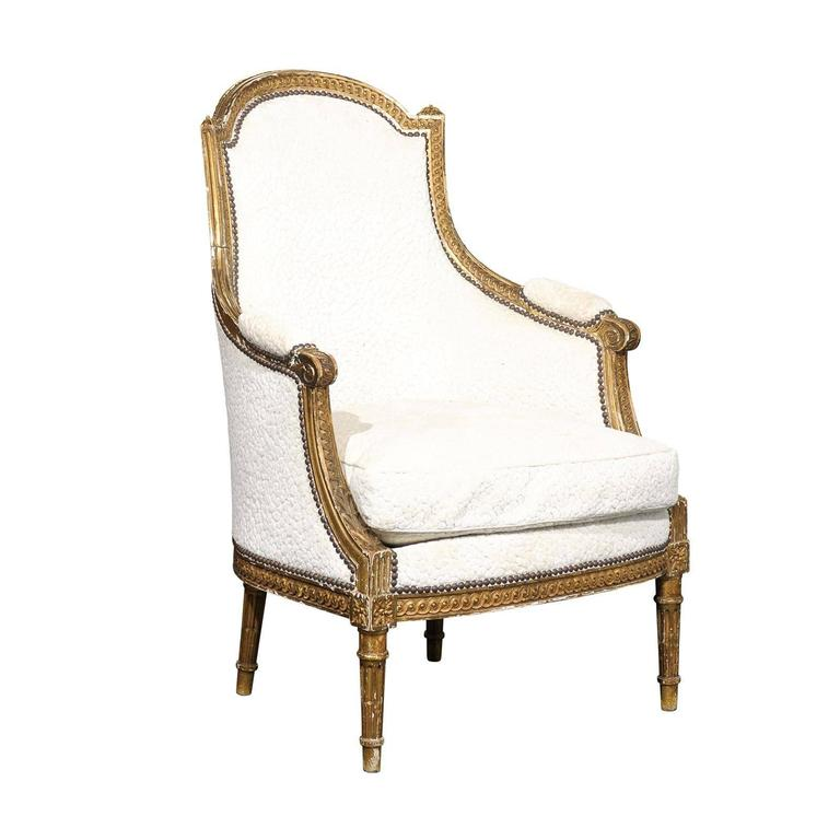 19th Century Louis XVI Style Giltwood Bergere
