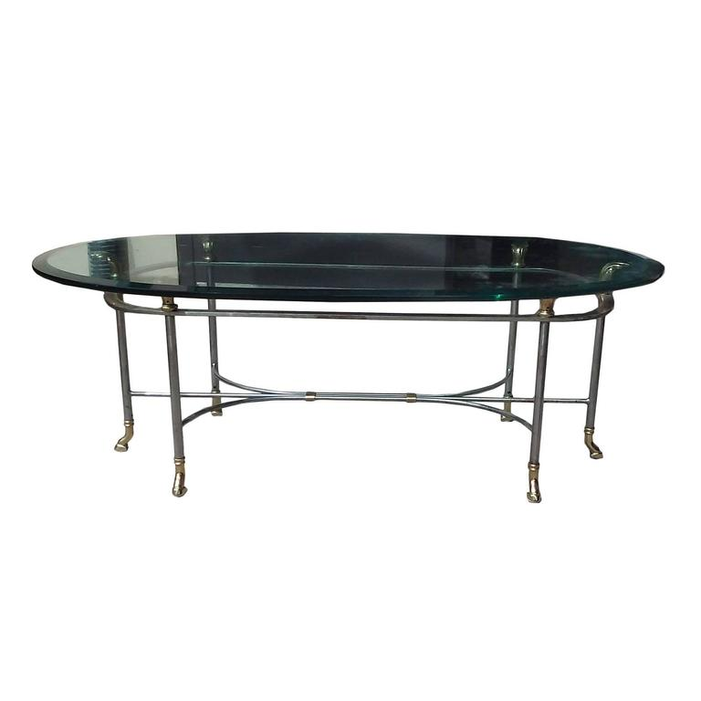 Mid Century Oval Steel And Brass Coffee Table With Horse Hoof Motif At 1stdibs