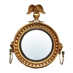 19th Century American Giltwood Convex Mirror with Eagle and Sconce