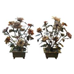 Pair of 19th-20th Century Multi-stone Flower Trees in Cloisonne Pots