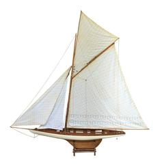 Mid-Century Large Model Sailboat, Cotton String and Wood