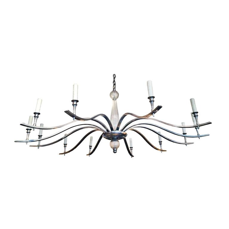 Mid-Century Chandelier with Venetian Glass in the Style of Tommi Parzinger