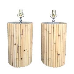 Pair of Midcentury Bamboo Lamps, circa 1970, Attributed to McGuire