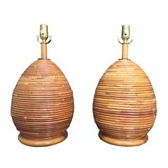 Pair of Vintage Pencil Reed Bamboo Lamps