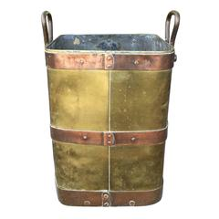 19th Century Large Brass and Copper Firewood Container