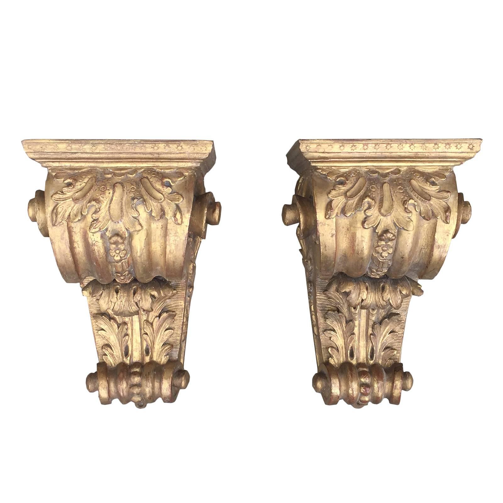 Pair of 19th Century Georgian Style Giltwood Brackets