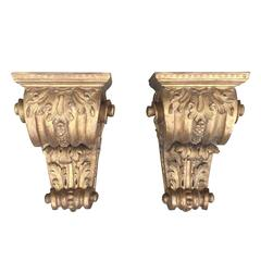 Pair of 19th Century Georgian Style Giltwood Brackets