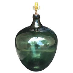 19th Century Large Green Glass Jeroboam as Lamp