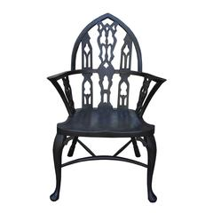 Rare 19th Century George III Ebonized Gothic Windsor Chair