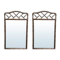 Pair of Mid-Century Bamboo Mirrors, Tortoise Finish