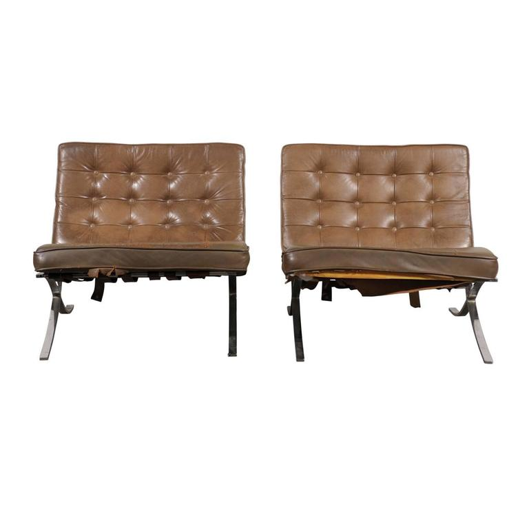 Pair of Leather and Steel 1970s-1980s Barcelona Chairs