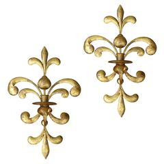 Pair of Mid Century Italian Gilt Metal One Arm Sconces