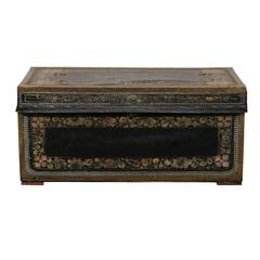 19th Century Leather and Brass Trunk