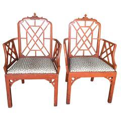 20th Century Chinoiserie Pagoda Chairs