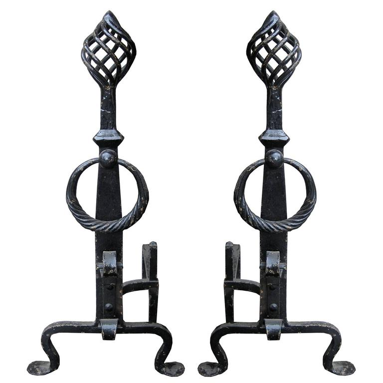 Early 20th Century Twist Finial Andirons, Black Finish