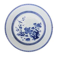 18th Century, Chinese, Blue and White Plate with Rabbit